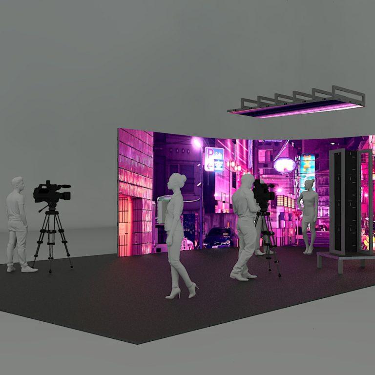 Virtual Production Studio Curved LED W Roof B Corner