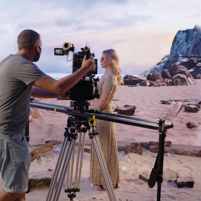 Beech Scene Using LED Screens For Filming